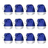 (12 Pack) Blue Felt Santa Hats for Holiday Christmas