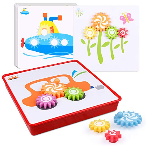 D-FantiX Spinning Gear Puzzle Board Set with 12 Pictures, Peg Puzzles Cog Gear Toys for Toddlers Kids Educational Preschool Learning Toys -