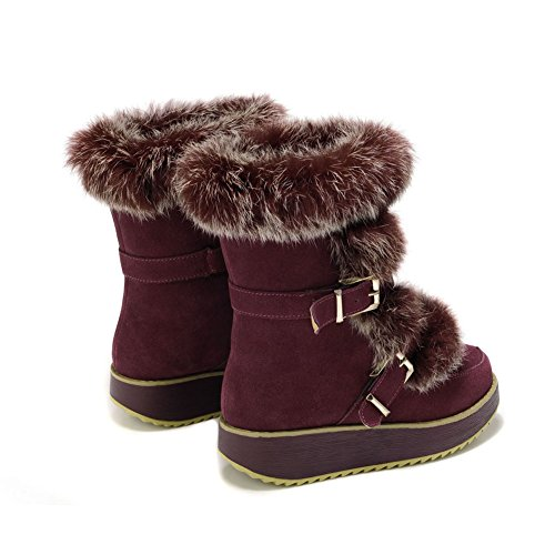 e75e6d4f3695 low-cost MILANAO Women s Winter Leisure Leather Mid Heel Snow Boots ...