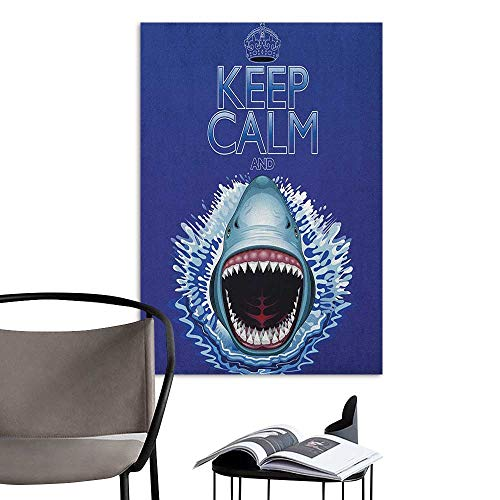 Jaydevn Wall Art Canvas Prints Sea Animals Keep Calm and Shark Jaws Attack Predators Hunter Dangerous Wild Aquatic Nature Blue White TV Backdrop Wall W16 x H20