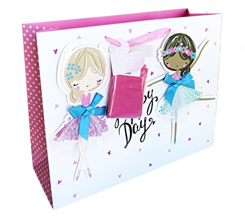 Happy Day Love to Dance Pretty Ballerinas Party Celebration Gift Bag with Tissue Paper