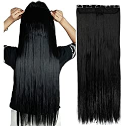 """S-noilite 24""""/26"""" Straight Curly 3/4 Full Head One Piece 5clips Clip in Hair Extensions Long Poplar Style for Xmas Gifts 22colors (26"""" - Straight, dark black)"""