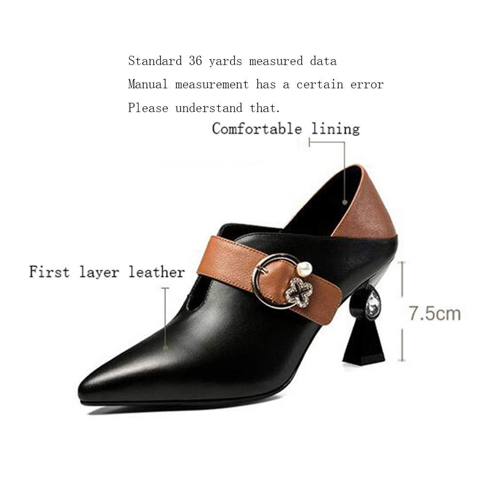 Gfphfm Damenschuhe Metal Metal Metal Button Leder-Damenschuhe 2019 Neuer Frühling Fall Single Schuhe Fashion Rhinestone High Heels,A,34 1ca877