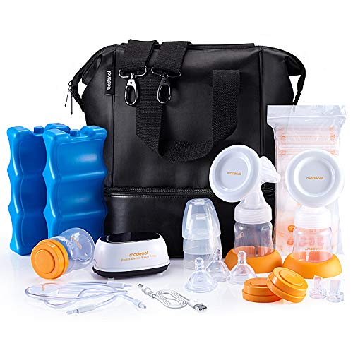 MADENAL Double Electric Breast Pump Travel Set, Ice Pack, Breastmilk Storage Bags, Super Quiet, Effective and Comfortable with On The Go Cooler Bag