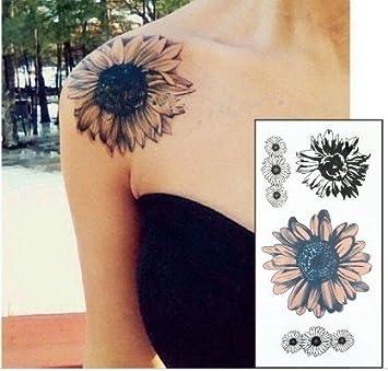 Sol Flores Flores tatuaje tatuaje Negro y Amarillo Fake Tattoo ...
