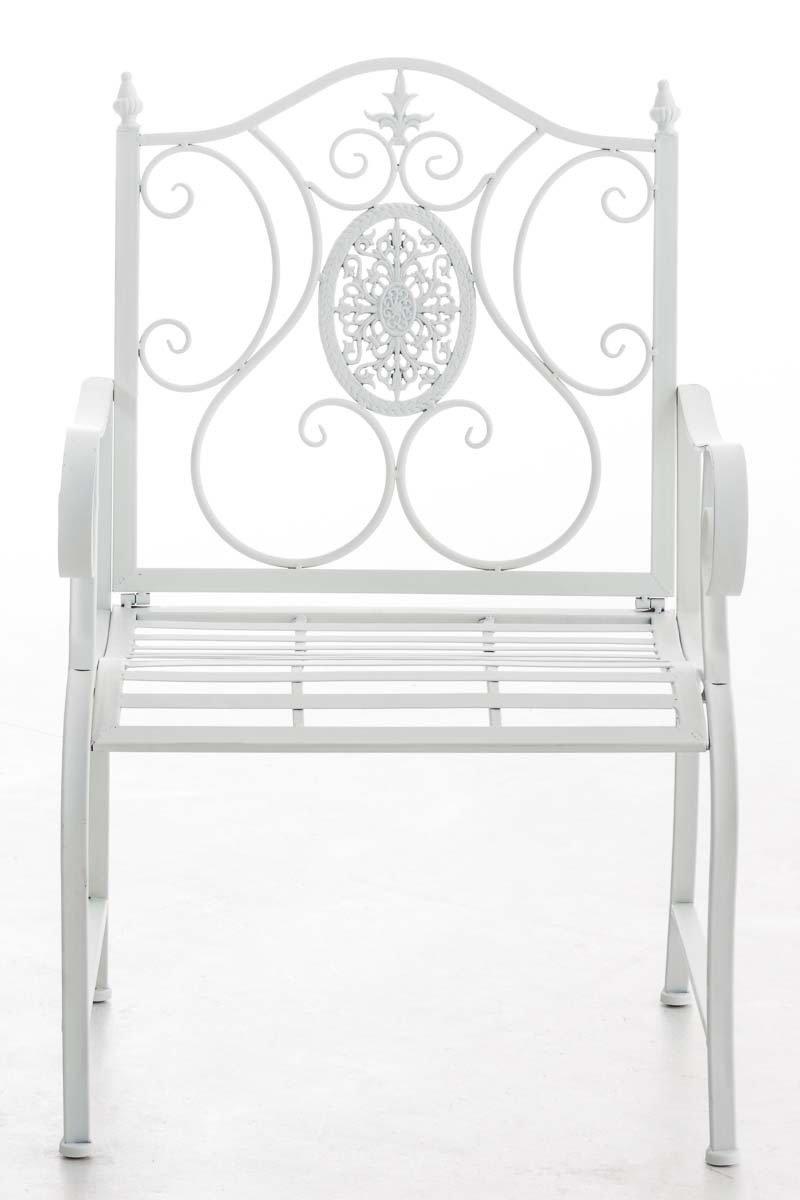CLP Chaise de Jardin Punjab I Chaise de Jardin en Fer Forg/é avec Accoudoirs Design Romantique Style Antique I Chaise de Jardin Terrasse ou Balcon I Couleur Blanc