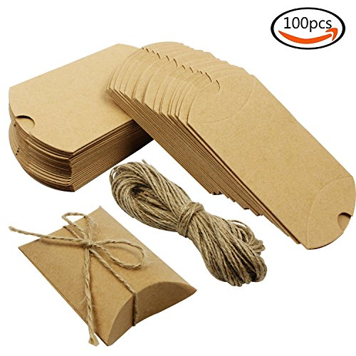 Small Pillow Boxes - Outuxed 100PCS Kraft Paper Pillow Candy Box For Wedding Party Favor + 100 PCS Jute Twine