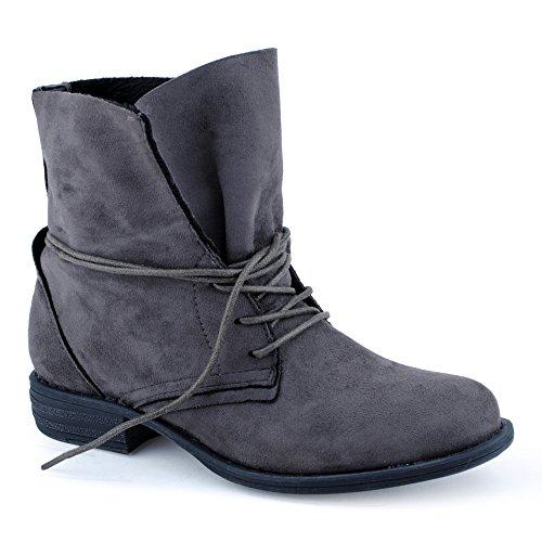 Damen Schnür Boots Stiefeletten Warm Gefüttert Stiefel Schuhe Grau-2/ungefüttert EU 39