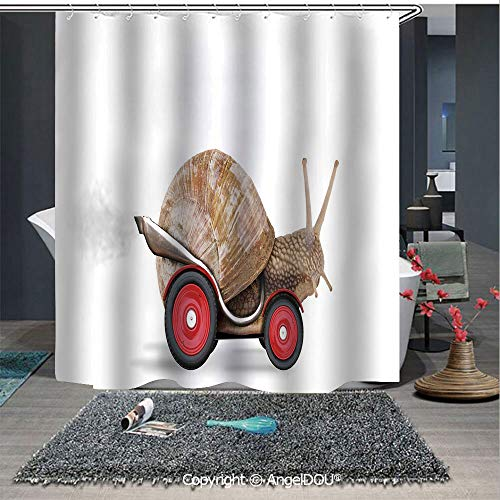 AngelDOU Funny Fashion Styles Printed Shower Curtain Speedy Snail Like Car Racer on Wheels Success Ambition Goal Creativity Concept D for Home Hotel Club Bathroom Decoration