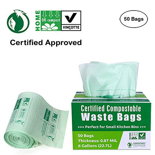 Primode 100% Compostable Bags 6 Gallon Food Scraps Yard Waste Bags, Extra Thick 0.87 Mil. ASTMD6400 Biodegradable Compost Bags Small Kitchen Trash Bags, Certified By BPI And VINCETTE, (50)