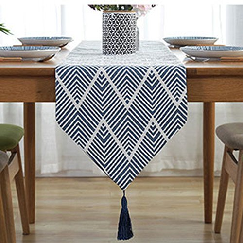 LivebyCare Multi-Size Geometric Fall Table Runners with Tassels Navy Elegant Modern Table Runner for Table Decoration 78 Inches for Dining Table Dresser Shoebox