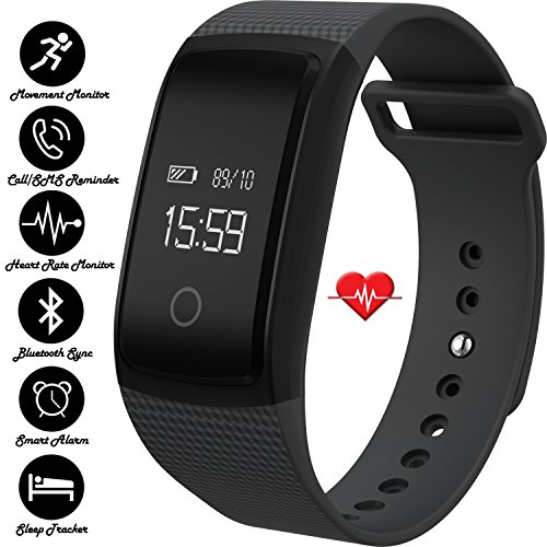 IVY's Smart Heart Rate Monitor Bracelet Fitness Tracker Wristband with Blood Pressure Blood Oxygen Monitor - Bluetooth Pedometer Fitness Bracelet Smart Bracelet Watch for IOS Android (Black)