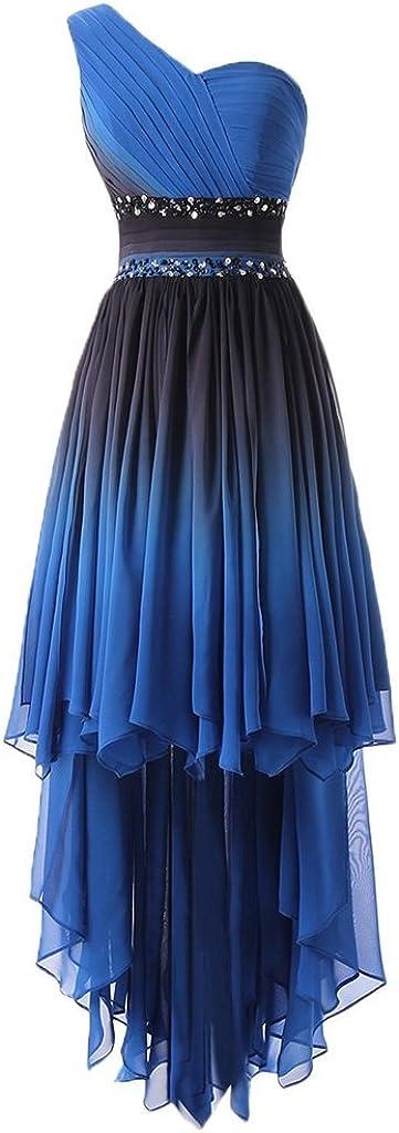 HUINI Elegante Abendkleider Lang Tr/ägerlose One Shoulder Empire Chiffon Ballkleid Festkleid