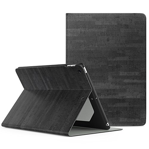 MoKo Case for iPad 9.7 2018/2017 - Premium Light Weight Stand Folio Shock Proof Cover Protector for Apple iPad 9.7 Inch (iPad 5, iPad 6), Slate BLACK (with Auto Wake/Sleep)