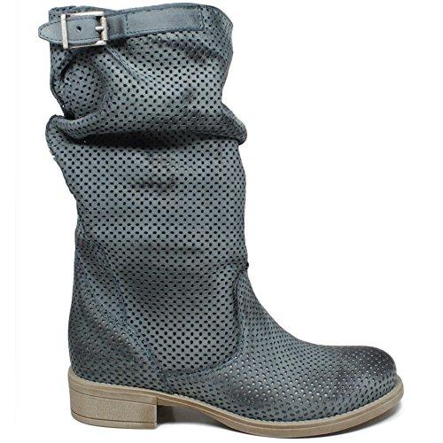 in Italy Time Vera Blu Polpaccio Boots Pelle Donna Estivi Stivali Traforati in metà 0363 In Biker Blu Made Nabuk Jeans UqxTUw