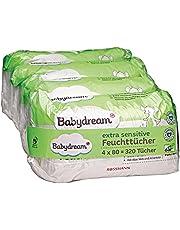 Babydream bardzo wrażliwe chusteczki nawilżające, 320 sztuk, 4 x 80, do skóry wrażliwej, delikatne czyszczenie, bez dodatków, z aloesem i allancją, odpowiednie do atopowego zapalenia skóry