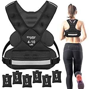 Aduro Sport Adjustable Weighted Vest Workout Equipment, 4-10lbs/11-20lbs/20-32lbs Body Weight Vest for Men, Women, Kids