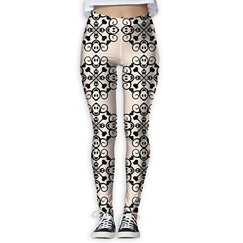 Womens Abstract Skull Crossbones Ornament Thin Tight Athletic Yoga Pants Leggings
