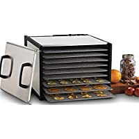 Excalibur D900SHD 9-Tray Electric Food Dehydrator with Stainless Steel Trays Features 26-Hour Timer Temperature Settings and Automatic Shut Off Made in USA, 9-Tray, Silver