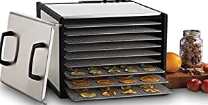 Excalibur D900SHD 9-Tray Electric Food Dehydrator with Clear Door for Viewing Progress Features 26-Hour Timer Temperature Settings and Automatic Shut Off Made in USA, Silver