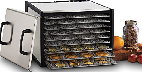Excalibur D900SHD 9-Tray Electric Food Dehydrator with Stainless Steel Trays Features 26-Hour Timer Temperature Settings and Automatic Shut Off Made in USA, 9-Tray, Silver ()