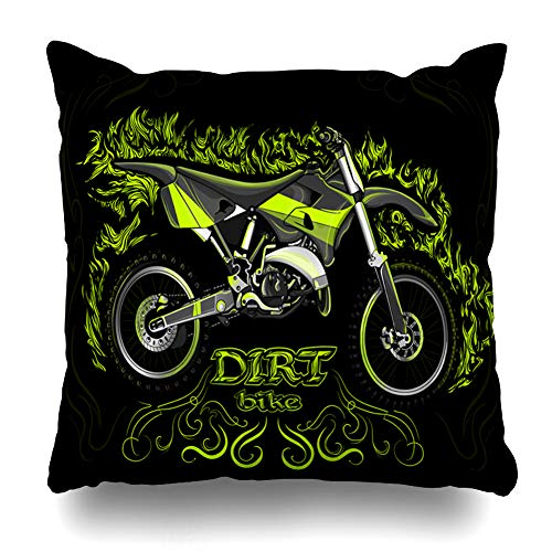 (Pandarllin Throw Pillow Cover Extreme Motocross Dirt Bike On Black Green Race Freestyle Motorcross Active Activity Amusement Design Cushion Case Home Decor Design Square Size 18 x 18 Inches Pillowcase)