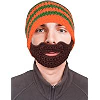 Striped Beanie with Full Beard | Image via Amazon