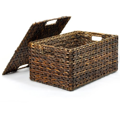 Storage Natural Basket Maize (The Lucky Clover Trading Maize Storage Removable Lid Basket, Brown)
