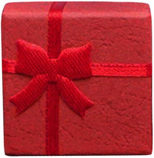 jieGorge - Joyero para Mujer, diseño de Anillos, Caja de Regalo con Lazo Cuadrado para Pascua, Caja de joyería de Madera