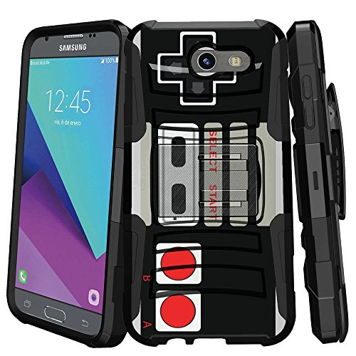 MINITURTLE Case Compatible w/ Case for [Samsung Galaxy Sol 2 | Express Prime 2 | Amp Prime 2 | J3 Mission] [MAX DEFENSE] Premium Defenderand Holster Game Controller Retro