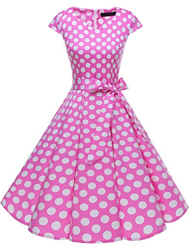 DRESSTELLS Retro 1950s Cocktail Dresses Vintage Swing Dress with Cap-Sleeves Pink White Dot 3XL