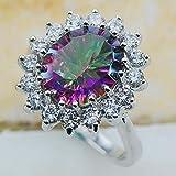 Sumanee Chic Women 925 Silver Rainbow Topaz Gemstone Wedding Ring Jewelry Size 6-10 (6)