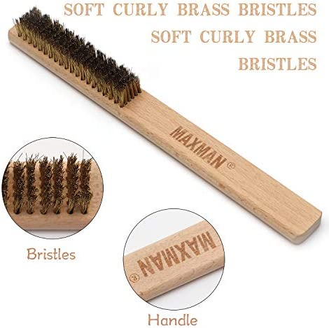 3 pieces Copper Wire Brush 20/×6 Row Natural Beech Handle Removes Lint Ideal for Cleaning or Surface Texturing on Soft Metals