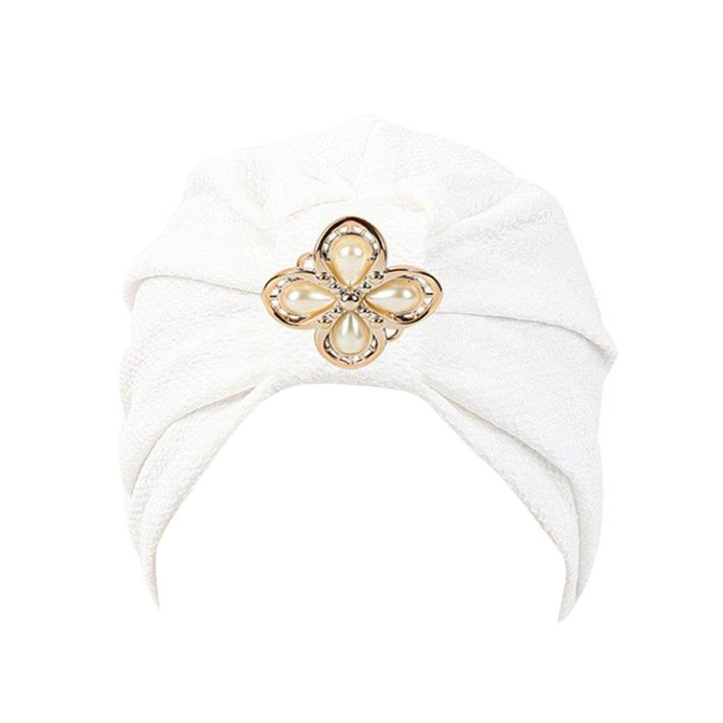 Compia Women Cotton Diamonds Muslim Ruffle Chemo Hat Beanie Turban Head Wrap Cap