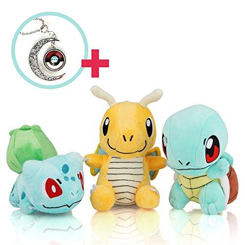 "(3+1 Set 4-5"") Bulbasaur - Dragonite - Squirtle - Best Necklace / Enjoy the Pokémon Plush Doll with Pokemon GO!"