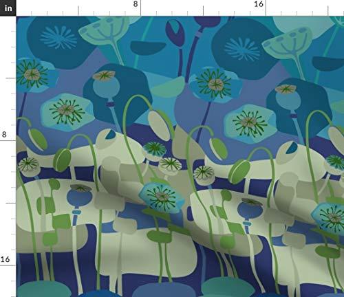 Mod Poppies Blue Bleu Fabric - Midcentury Modern Art Floral Poppy Flower Mid Century Navy Taupe Greenery Print on Fabric by The Yard - Sport Lycra for Swimwear Performance Leggings Apparel Fashion