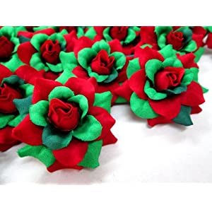 "(100) Silk Christmas Roses Red Green Flower Heads - 1.75"" - Artificial Flowers Heads Fabric Floral Supplies Wholesale Lot for Wedding Flowers Accessories Make Bridal Hair Clips Headbands Dress 2"