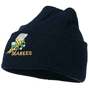 Navy Seabees Symbol Embroidered Cuff Long Beanie - Navy