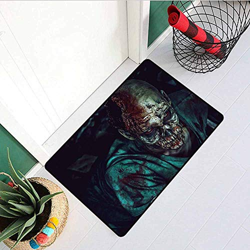 GloriaJohnson Zombie Commercial Grade Entrance mat Man Shot in Head with Bloody Details Fearful Monster Design Vampire Fantasy Print for entrances garages patios W23.6 x L35.4 Inch Multicolor