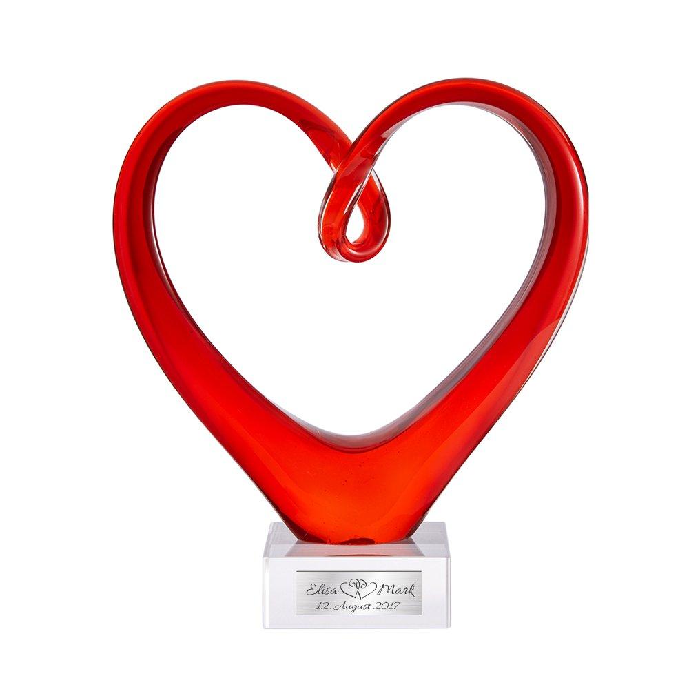 Herz aus Glas – Rotes Glasherz als Skulptur – Plakette mit Gravur ...