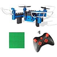 NiGHT LiONS TECH N912 DIY Building Block 2.4GHz Headless Mode One Key Return Remote Control Drone, Build it Yourself and Fly, Mini Detachable RC Quadcopter - Blue