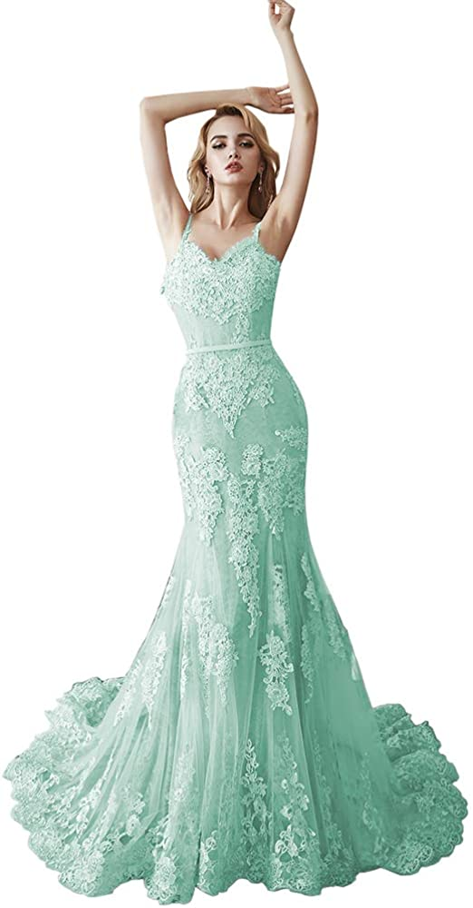 M Bridal Womens Mermaid Lace Appliques Spahetti Straps Prom Dresses V-Neck Sweep Train Evening Gowns