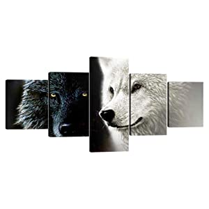 Yatsen Bridge 5 Piece Wolf Wall Art Stretched by Wooden Frame Modern Black and White Wolves Canvas Giclee Artwork Animal Posters for Home Decor Easy to Hang - 50''W x 24''H