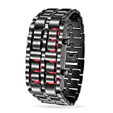Bling Jewelry Mens Steel Back Faceless Lava Red LED Digital Watch Alloy