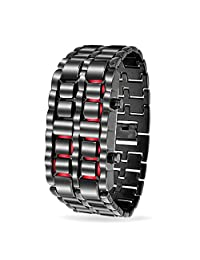 Bling Jewelry Mens Steel Back Faceless Lava Red Watch Gunmetal Alloy