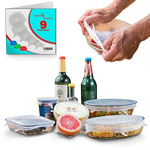 Reusable SILICONE STRETCH LIDS Set - 9 pack - No More Cling Wrap - Universal Expandable ECO-Friendly Ultimate Instalids, Clear Covers Stretch & Seal Various Sizes Bowls, Jars, Cups, Cans or Containers by Keklle