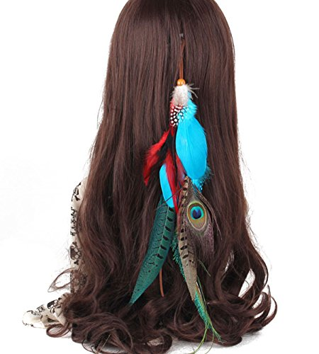 Suoirblss 1 Pc Handmade Boho Hippie Hair Extensions with Feather Clip Comb Hairpin Headdress DIY Accessories for Girls Women Lady