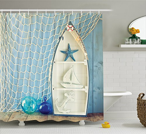 (Ambesonne Nautical Decor Shower Curtain, Sea Objects on Wooden with Vintage Boat Starfish Shell Fishing Net Photo, Fabric Bathroom Decor Set with Hooks, 75 Inches Long, Blue Cream )