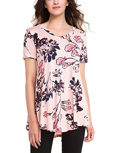 BaiShengGT Women's V-Neck Short Sleeve Flared Printed Tunic Top X-Large Pink (Pink Tunic Printed)