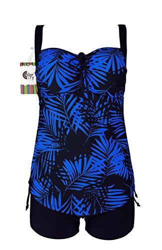 Color City Women's Plus Size Floral Two Piece Tankini Swimsuit Bathing Suit (US 18, Blue)